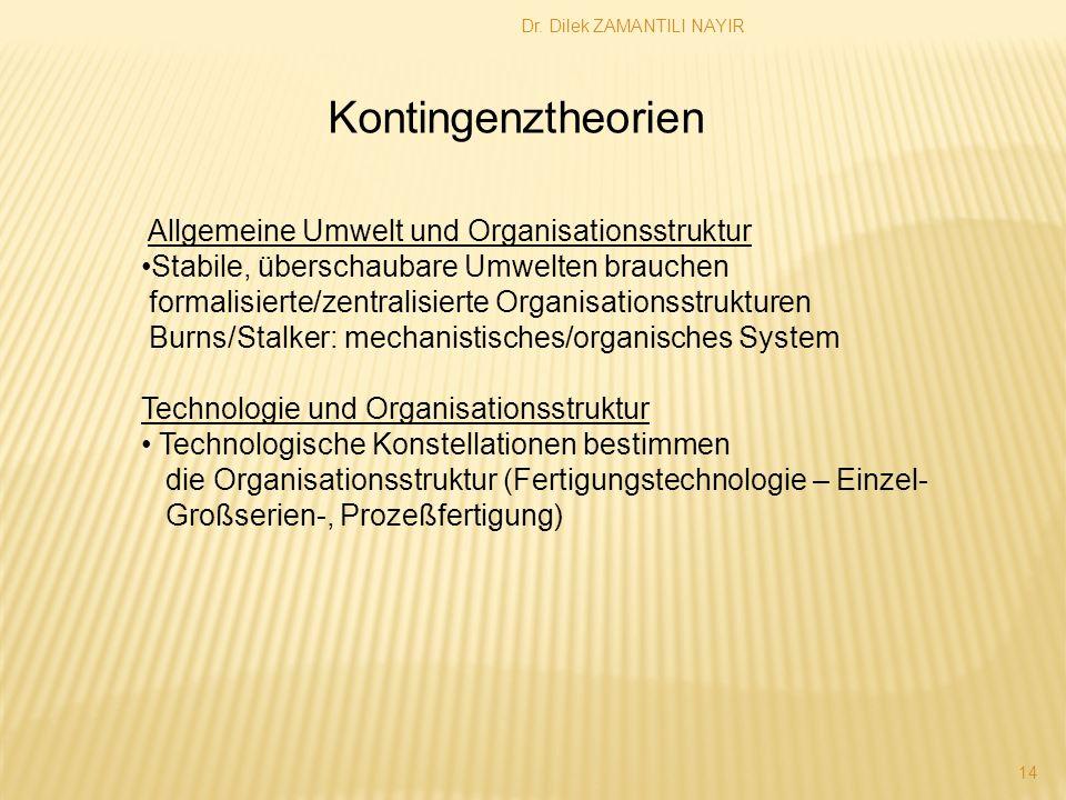 Dr. Dilek ZAMANTILI NAYIR 14 Kontingenztheorien Allgemeine Umwelt und Organisationsstruktur Stabile, überschaubare Umwelten brauchen formalisierte/zen