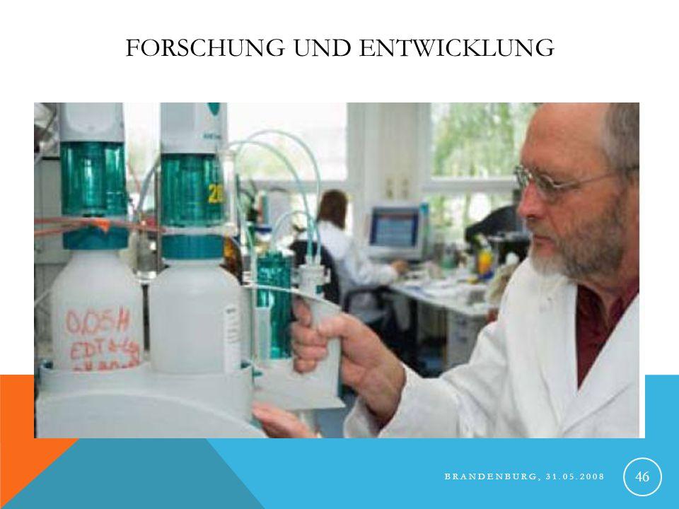 BRANDENBURG, 31.05.2008 47 FORSCHUNG UND ENTWICKLUNG jährlich rund 5,5 Millionen US$ in Forschung investiert Zur Zeit über 300 Patente bzw.