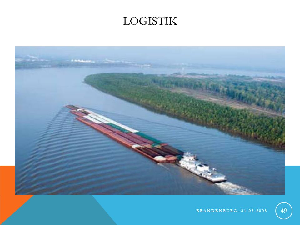 BRANDENBURG, 31.05.2008 50 LOGISTIK Transport per Schiff oder Bahn 250 Container im Import 550 Container im Export 150.000km pro Jahr