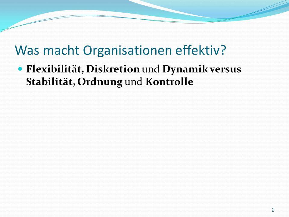 Was macht Organisationen effektiv? Flexibilität, Diskretion und Dynamik versus Stabilität, Ordnung und Kontrolle 2
