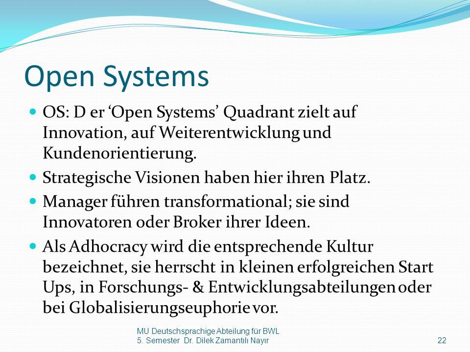 Open Systems OS: D er Open Systems Quadrant zielt auf Innovation, auf Weiterentwicklung und Kundenorientierung. Strategische Visionen haben hier ihren