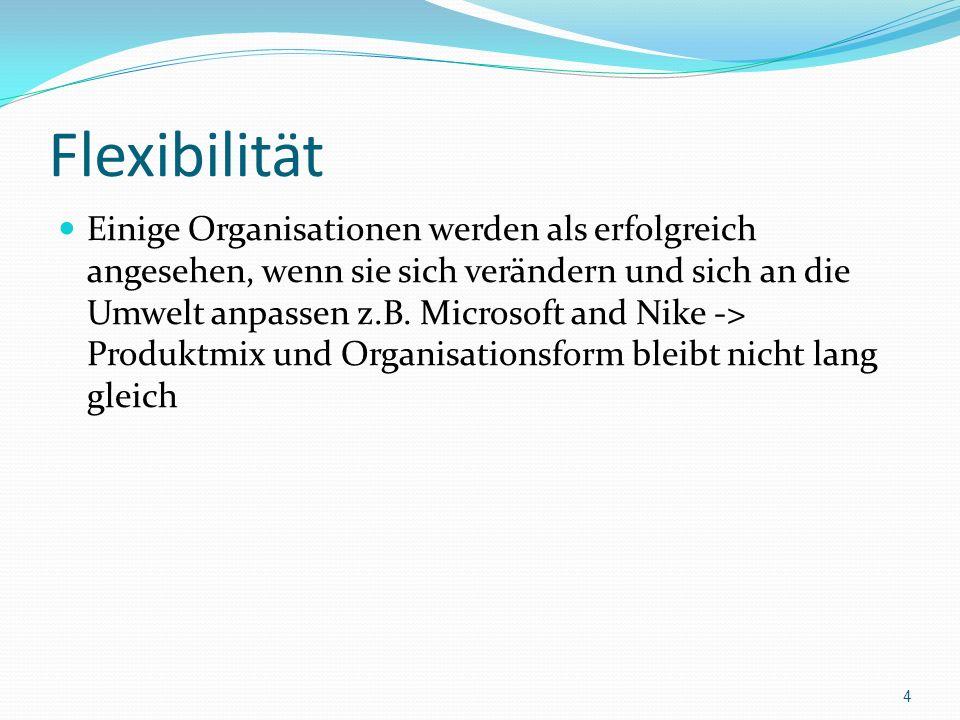 Flexibilität Einige Organisationen werden als erfolgreich angesehen, wenn sie sich verändern und sich an die Umwelt anpassen z.B.