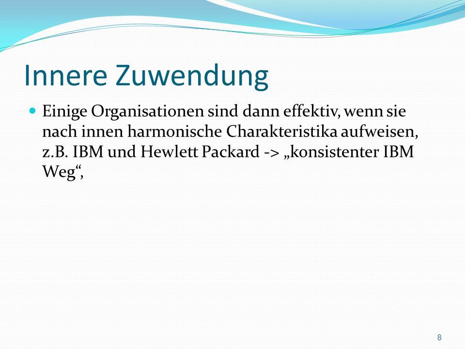 Innere Zuwendung Einige Organisationen sind dann effektiv, wenn sie nach innen harmonische Charakteristika aufweisen, z.B. IBM und Hewlett Packard ->