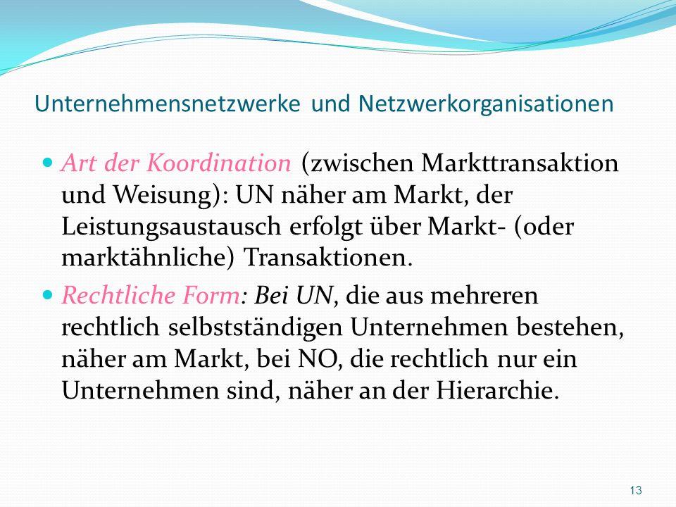 Unternehmensnetzwerke und Netzwerkorganisationen Art der Koordination (zwischen Markttransaktion und Weisung): UN näher am Markt, der Leistungsaustaus