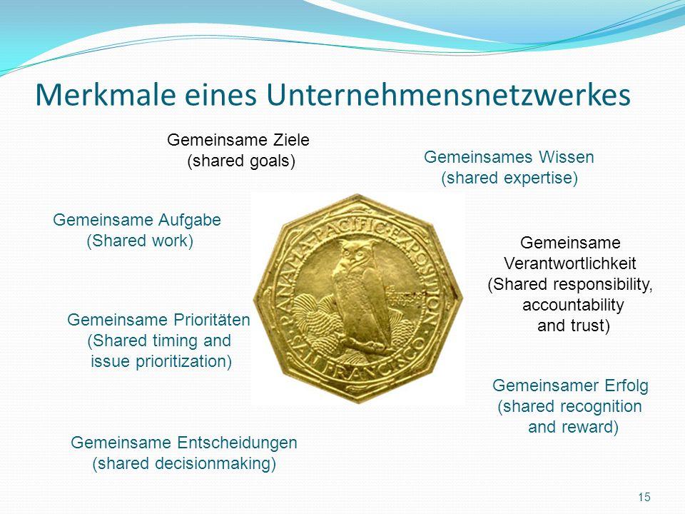 Merkmale eines Unternehmensnetzwerkes 15 Gemeinsame Ziele (shared goals) Gemeinsames Wissen (shared expertise) Gemeinsame Aufgabe (Shared work) Gemein