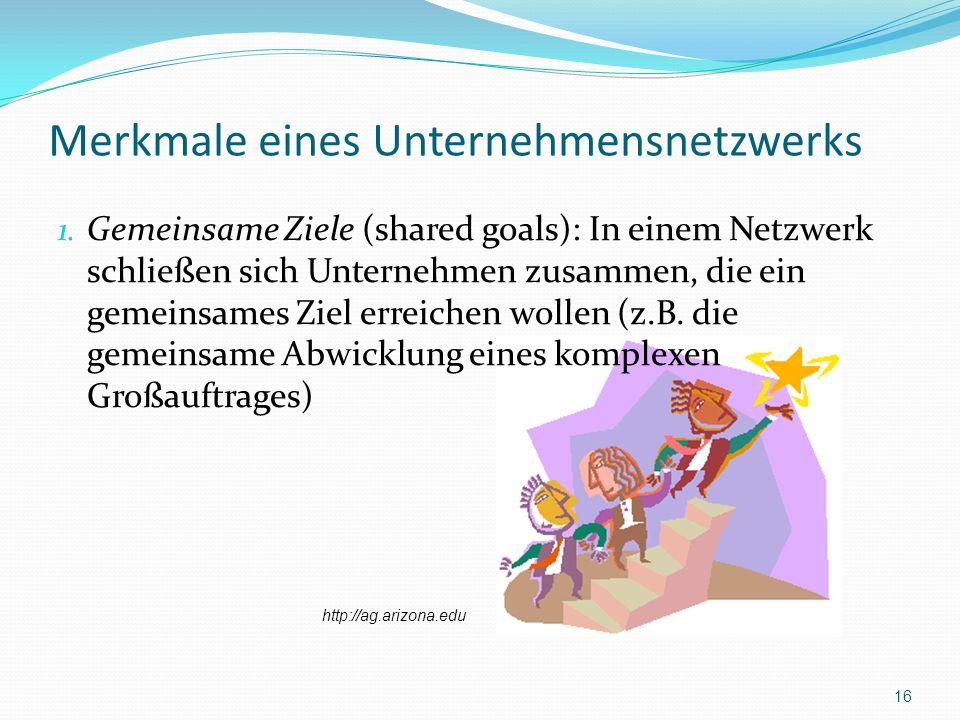 Merkmale eines Unternehmensnetzwerks 1. Gemeinsame Ziele (shared goals): In einem Netzwerk schließen sich Unternehmen zusammen, die ein gemeinsames Zi