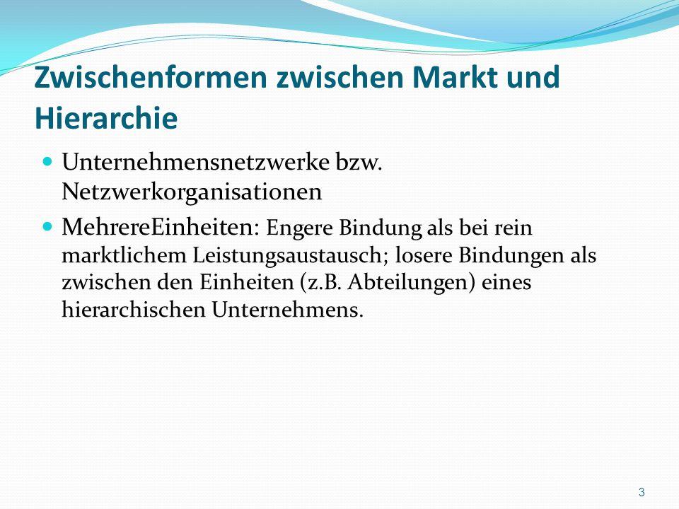 Zwischenformen zwischen Markt und Hierarchie Unternehmensnetzwerke bzw. Netzwerkorganisationen MehrereEinheiten: Engere Bindung als bei rein marktlich