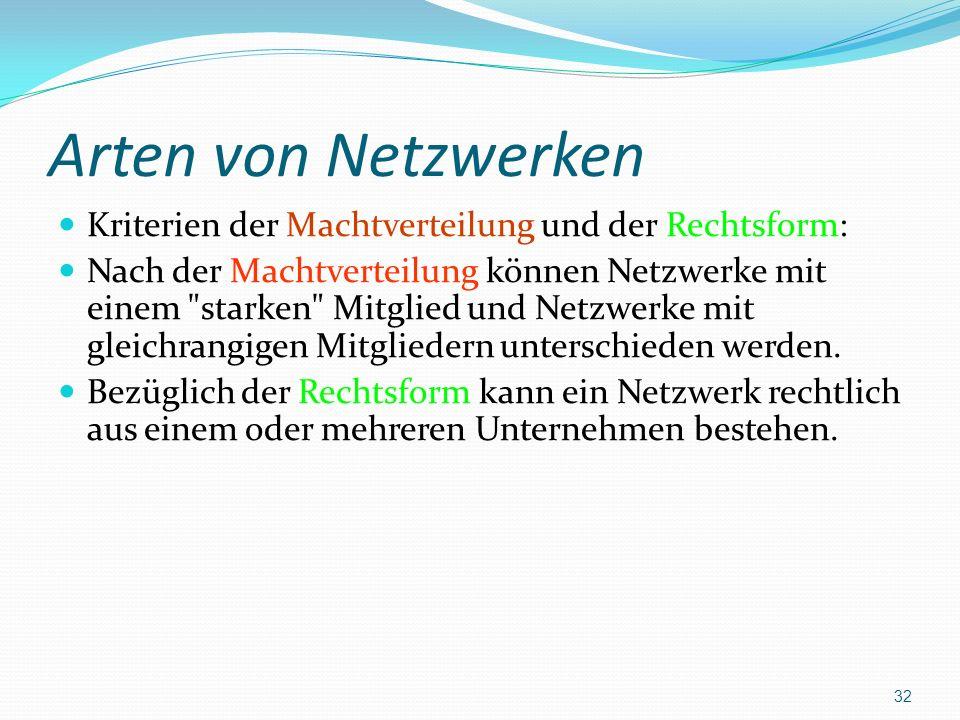 Arten von Netzwerken Kriterien der Machtverteilung und der Rechtsform: Nach der Machtverteilung können Netzwerke mit einem