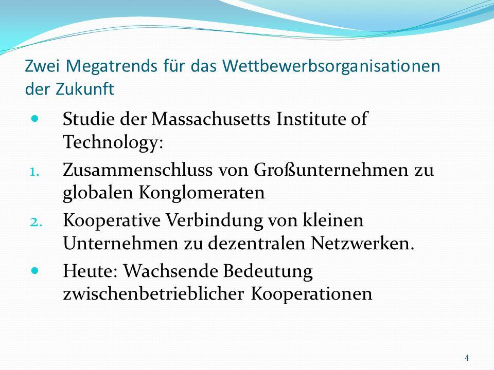 Zwei Megatrends für das Wettbewerbsorganisationen der Zukunft Studie der Massachusetts Institute of Technology: 1. Zusammenschluss von Großunternehmen
