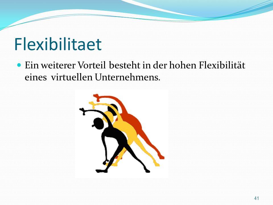 Flexibilitaet Ein weiterer Vorteil besteht in der hohen Flexibilität eines virtuellen Unternehmens. 41
