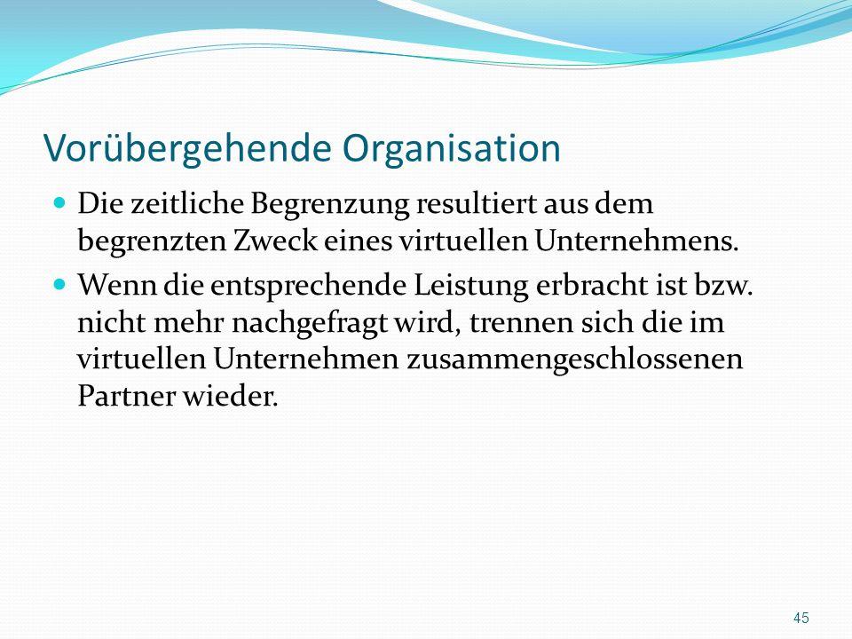 Vorübergehende Organisation Die zeitliche Begrenzung resultiert aus dem begrenzten Zweck eines virtuellen Unternehmens. Wenn die entsprechende Leistun