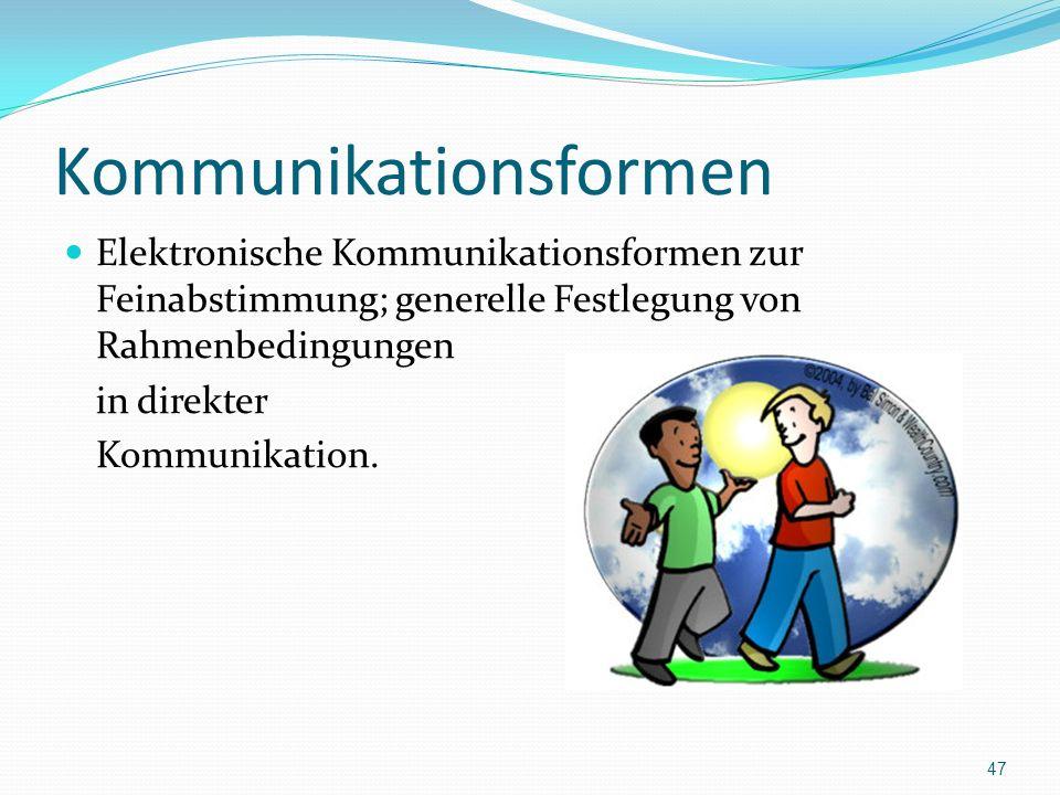 Kommunikationsformen Elektronische Kommunikationsformen zur Feinabstimmung; generelle Festlegung von Rahmenbedingungen in direkter Kommunikation. 47