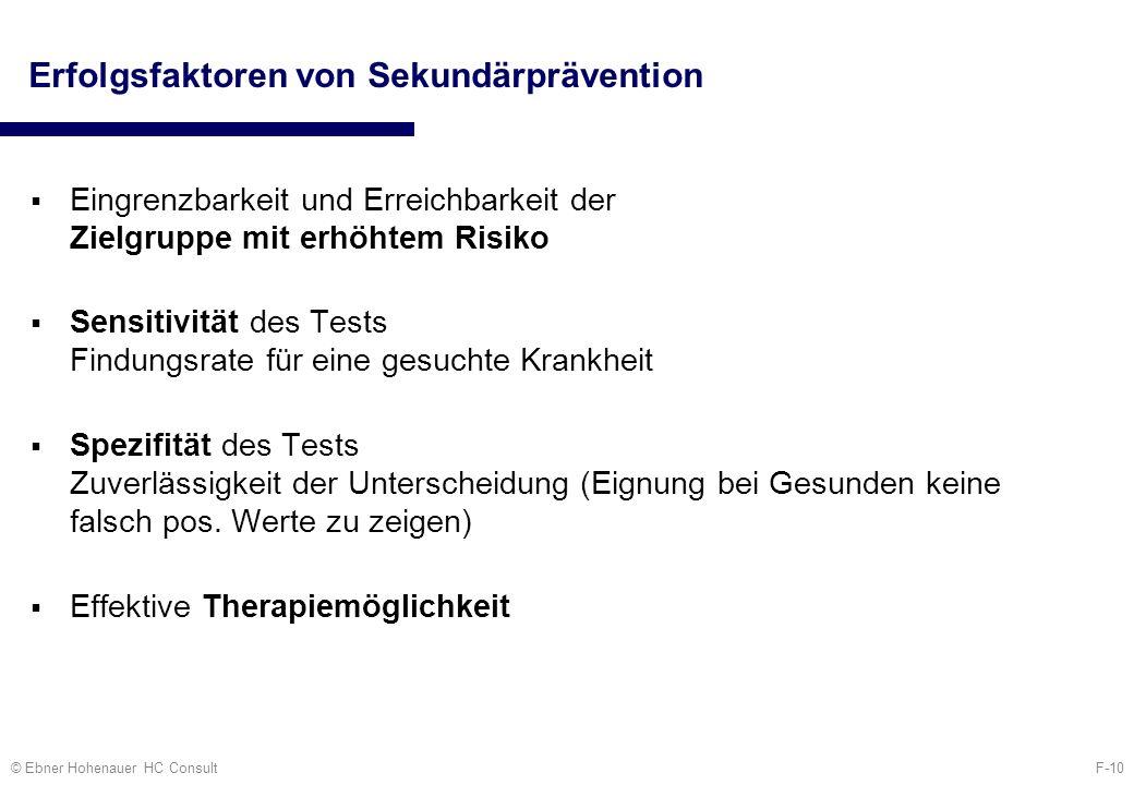 F-10© Ebner Hohenauer HC Consult Erfolgsfaktoren von Sekundärprävention Eingrenzbarkeit und Erreichbarkeit der Zielgruppe mit erhöhtem Risiko Sensitiv