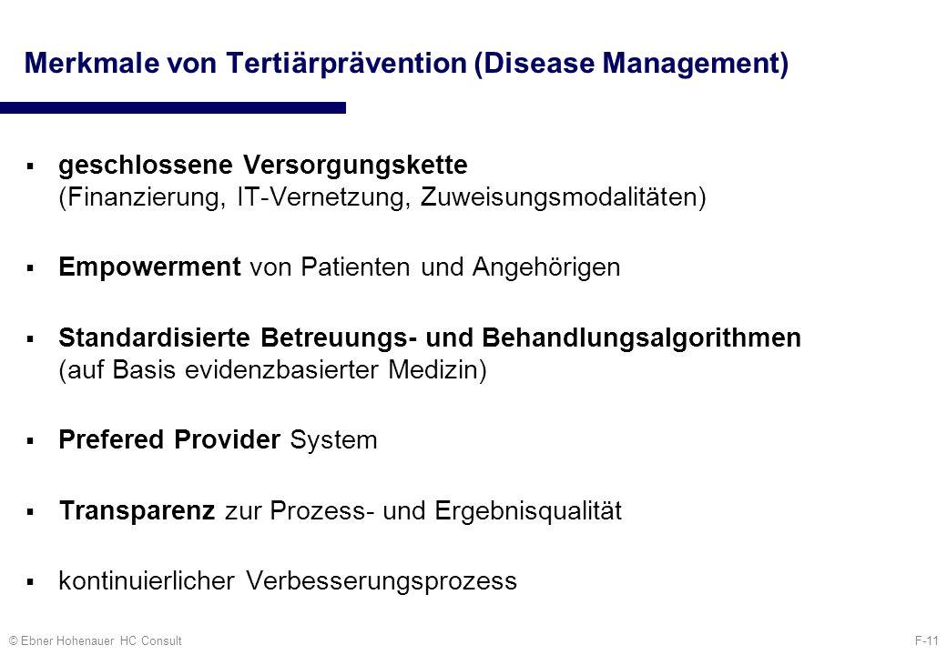 F-11© Ebner Hohenauer HC Consult Merkmale von Tertiärprävention (Disease Management) geschlossene Versorgungskette (Finanzierung, IT-Vernetzung, Zuwei