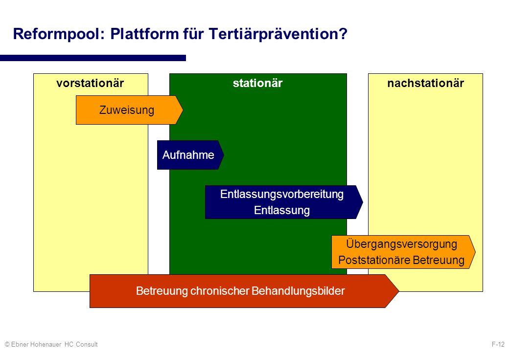 F-12© Ebner Hohenauer HC Consult Reformpool: Plattform für Tertiärprävention? vorstationärstationärnachstationär Zuweisung Aufnahme Entlassungsvorbere