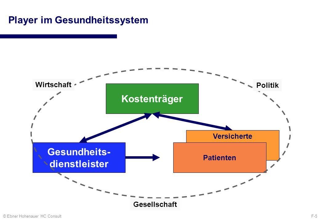 F-5© Ebner Hohenauer HC Consult Player im Gesundheitssystem Kostenträger Versicherte Patienten Gesundheits- dienstleister Wirtschaft Politik Gesellsch