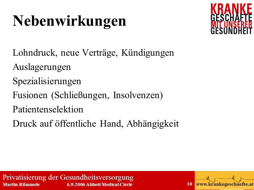 Privatisierung der Gesundheitsversorgung Martin Rümmele 6.9.2006 Abbott Medical Circle www.krankegeschaefte.at 10 Nebenwirkungen Lohndruck, neue Vertr