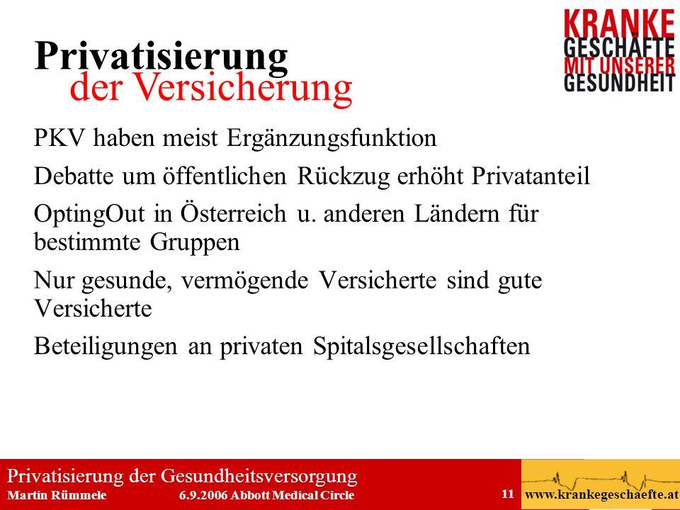 Privatisierung der Gesundheitsversorgung Martin Rümmele 6.9.2006 Abbott Medical Circle www.krankegeschaefte.at 11 PKV haben meist Ergänzungsfunktion D
