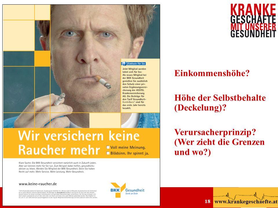 Privatisierung der Gesundheitsversorgung Martin Rümmele 6.9.2006 Abbott Medical Circle www.krankegeschaefte.at 18 Einkommenshöhe? Höhe der Selbstbehal