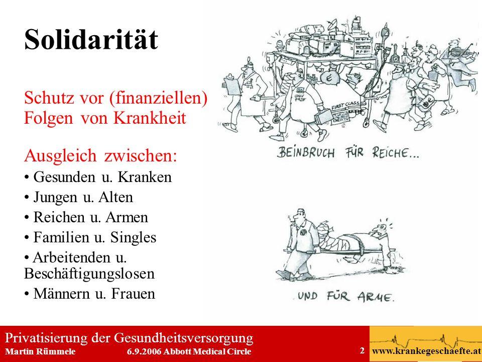 Privatisierung der Gesundheitsversorgung Martin Rümmele 6.9.2006 Abbott Medical Circle www.krankegeschaefte.at 2 Solidarität Schutz vor (finanziellen)