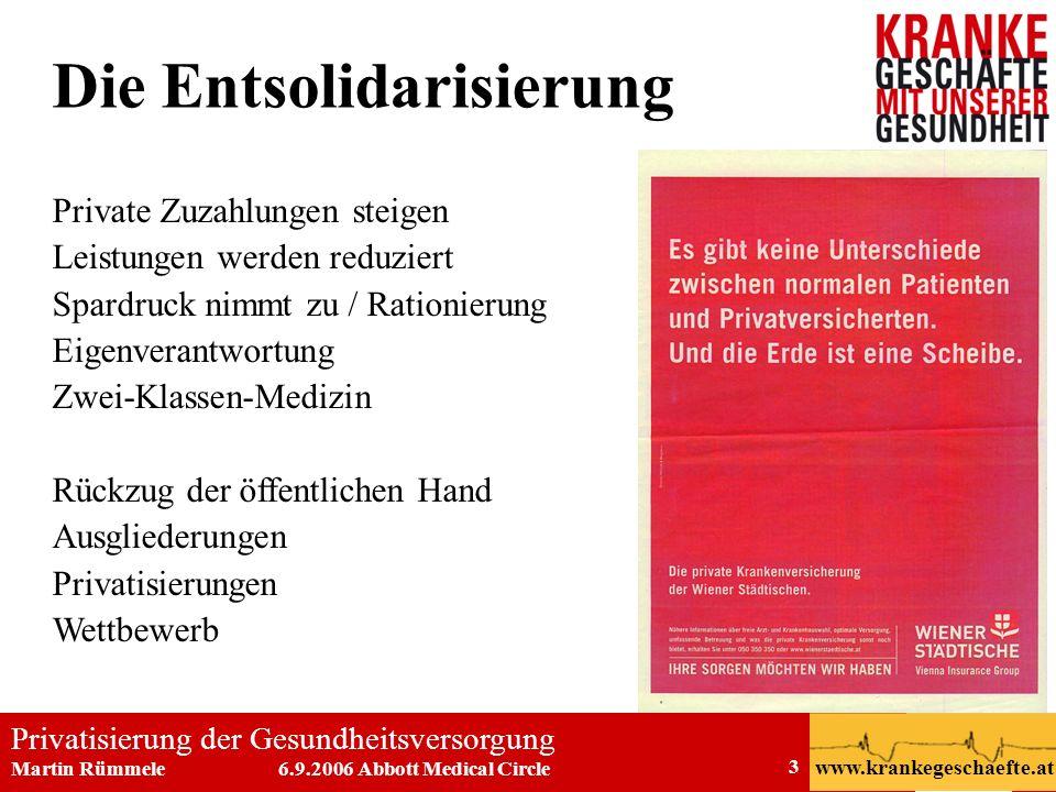 Privatisierung der Gesundheitsversorgung Martin Rümmele 6.9.2006 Abbott Medical Circle www.krankegeschaefte.at 3 Die Entsolidarisierung Private Zuzahl