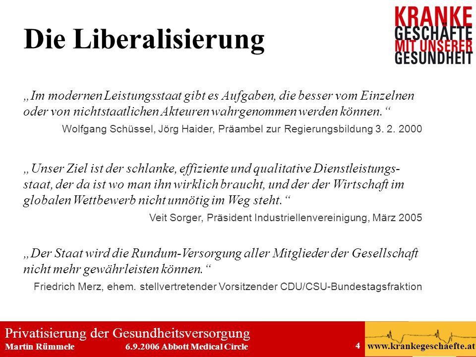 Privatisierung der Gesundheitsversorgung Martin Rümmele 6.9.2006 Abbott Medical Circle www.krankegeschaefte.at 4 Die Liberalisierung Im modernen Leist