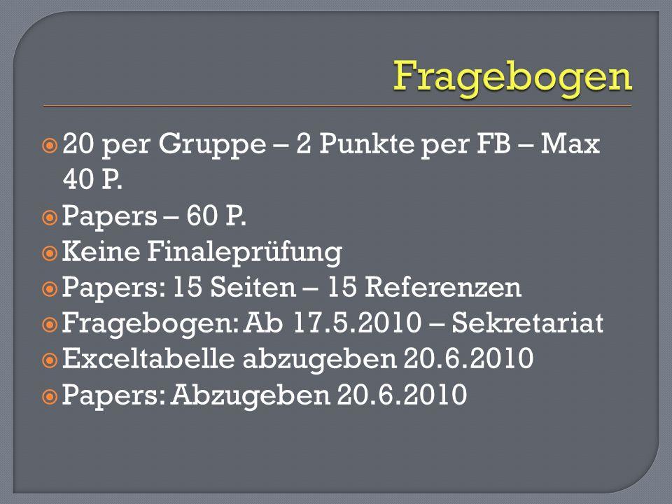 20 per Gruppe – 2 Punkte per FB – Max 40 P. Papers – 60 P. Keine Finaleprüfung Papers: 15 Seiten – 15 Referenzen Fragebogen: Ab 17.5.2010 – Sekretaria