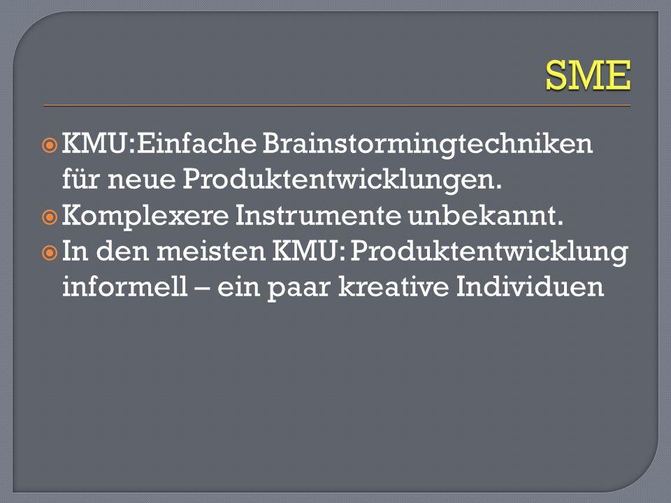 KMU:Einfache Brainstormingtechniken für neue Produktentwicklungen. Komplexere Instrumente unbekannt. In den meisten KMU: Produktentwicklung informell