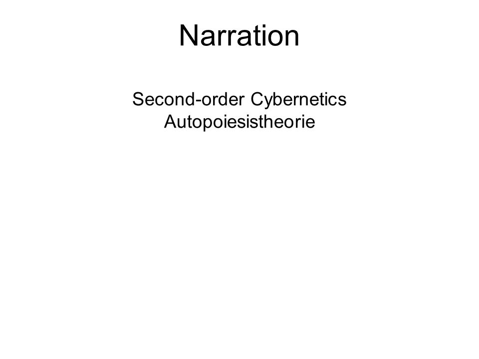 Narration Second-order Cybernetics Autopoiesistheorie