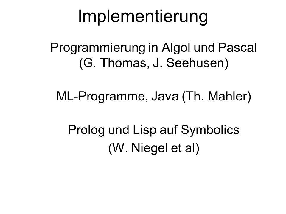 Implementierung Programmierung in Algol und Pascal (G.