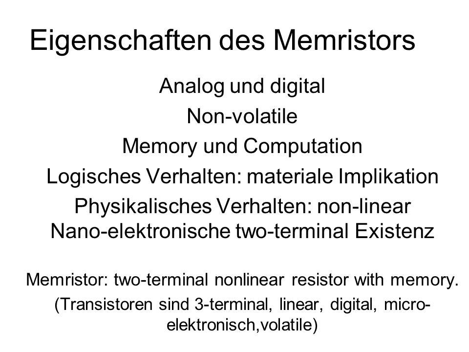 Eigenschaften des Memristors Analog und digital Non-volatile Memory und Computation Logisches Verhalten: materiale Implikation Physikalisches Verhalte