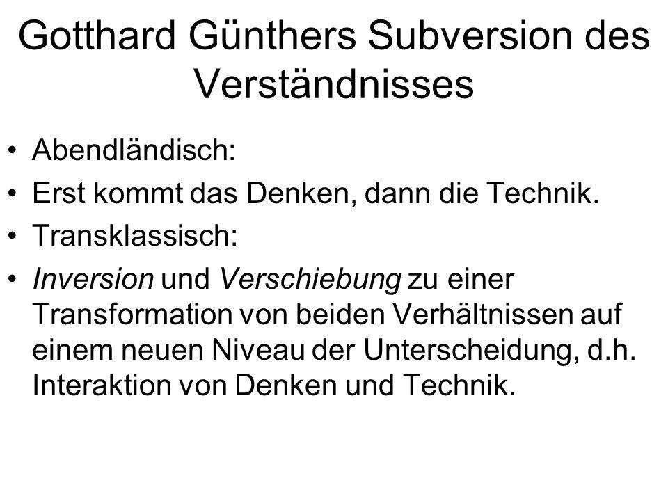 Gotthard Günthers Subversion des Verständnisses Abendländisch: Erst kommt das Denken, dann die Technik. Transklassisch: Inversion und Verschiebung zu