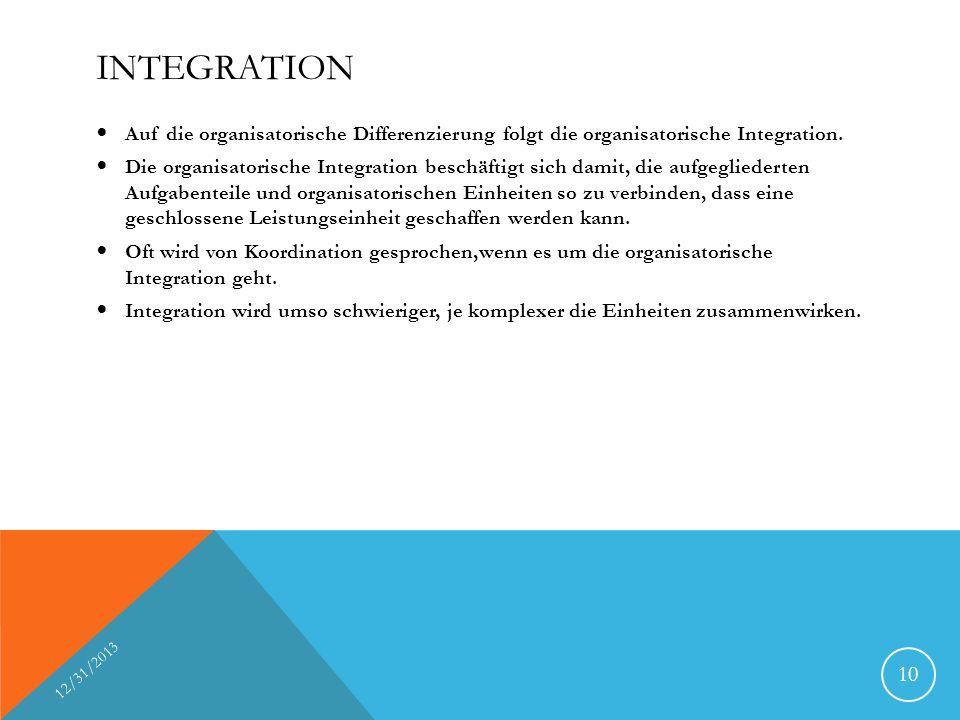 INTEGRATION Auf die organisatorische Differenzierung folgt die organisatorische Integration. Die organisatorische Integration beschäftigt sich damit,