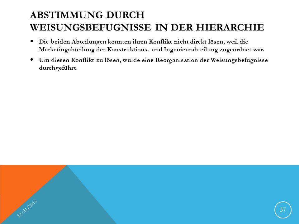 ABSTIMMUNG DURCH WEISUNGSBEFUGNISSE IN DER HIERARCHIE Die beiden Abteilungen konnten ihren Konflikt nicht direkt lösen, weil die Marketingabteilung der Konstruktions- und Ingenieurabteilung zugeordnet war.
