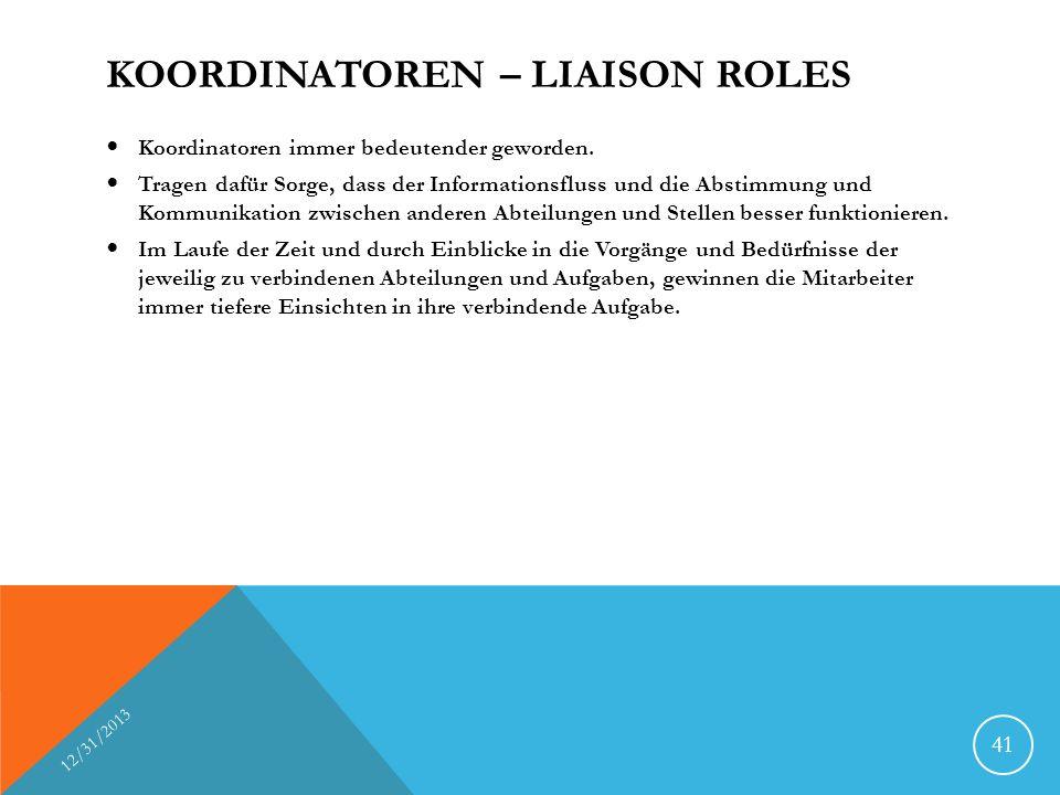 KOORDINATOREN – LIAISON ROLES Koordinatoren immer bedeutender geworden. Tragen dafür Sorge, dass der Informationsfluss und die Abstimmung und Kommunik