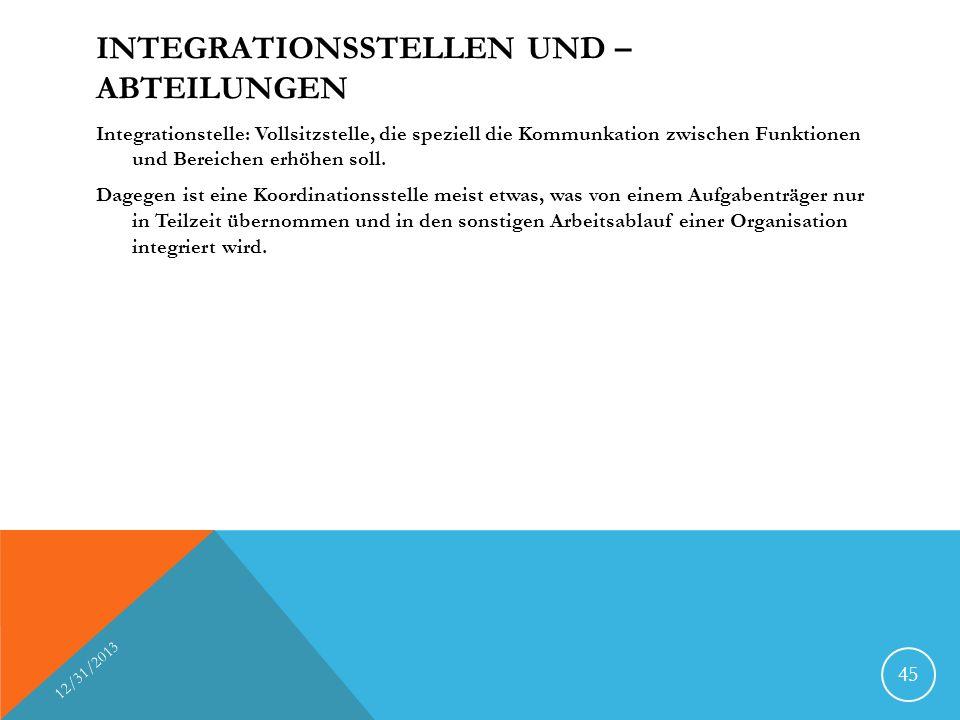 INTEGRATIONSSTELLEN UND – ABTEILUNGEN Integrationstelle: Vollsitzstelle, die speziell die Kommunkation zwischen Funktionen und Bereichen erhöhen soll.