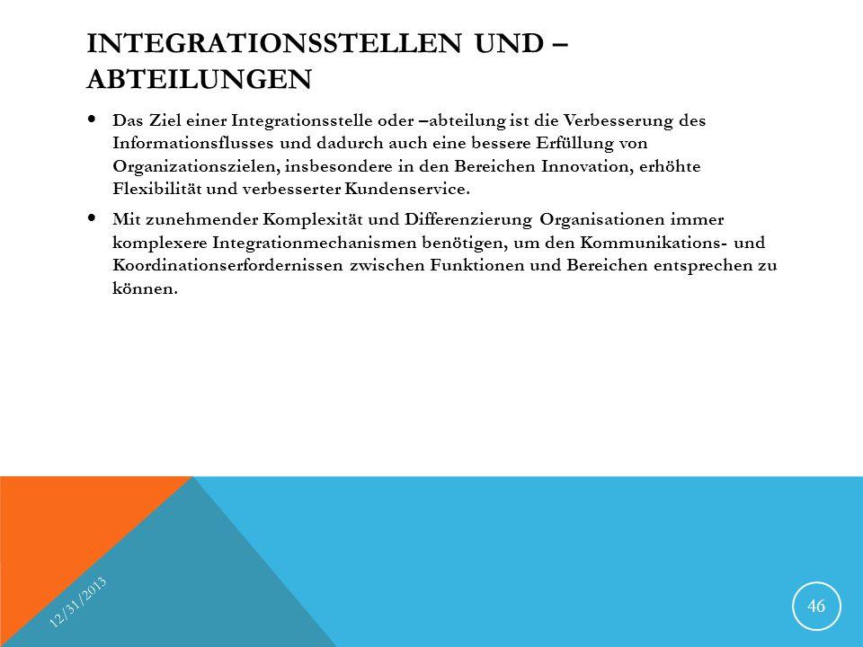 INTEGRATIONSSTELLEN UND – ABTEILUNGEN Das Ziel einer Integrationsstelle oder –abteilung ist die Verbesserung des Informationsflusses und dadurch auch