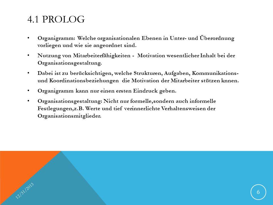 4.1 PROLOG Organigramm: Welche organisationalen Ebenen in Unter- und Überordnung vorliegen und wie sie angeordnet sind. Nutzung von Mitarbeiterfähigke