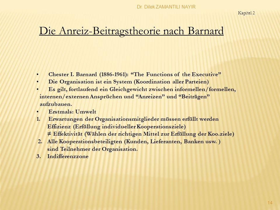 Dr. Dilek ZAMANTILI NAYIR 14 Die Anreiz-Beitragstheorie nach Barnard Chester I. Barnard (1886-1961): The Functions of the Executive Die Organisation i