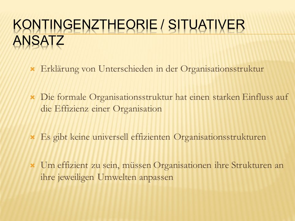 Erklärung von Unterschieden in der Organisationsstruktur Die formale Organisationsstruktur hat einen starken Einfluss auf die Effizienz einer Organisa