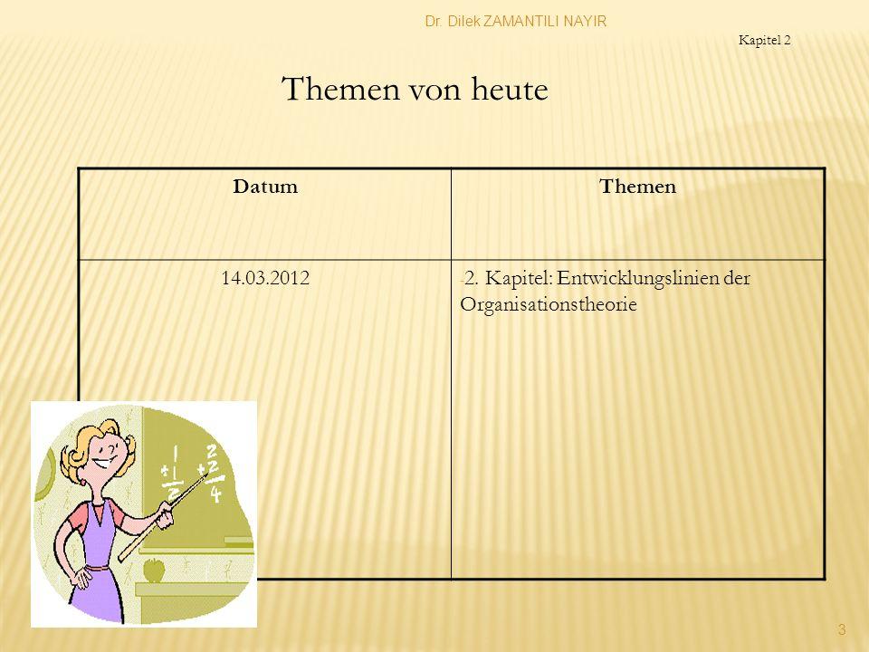 Dr. Dilek ZAMANTILI NAYIR 3 DatumThemen 14.03.2012 - 2. Kapitel: Entwicklungslinien der Organisationstheorie Themen von heute Kapitel 2
