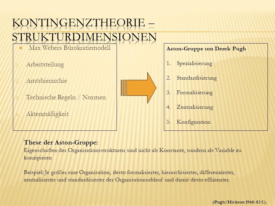 Max Webers Bürokratiemodell 1. Arbeitsteilung 2. Amtshierarchie 3. Technische Regeln / Normen 4. Aktenmäßigkeit Aston-Gruppe um Derek Pugh 1.Spezialis