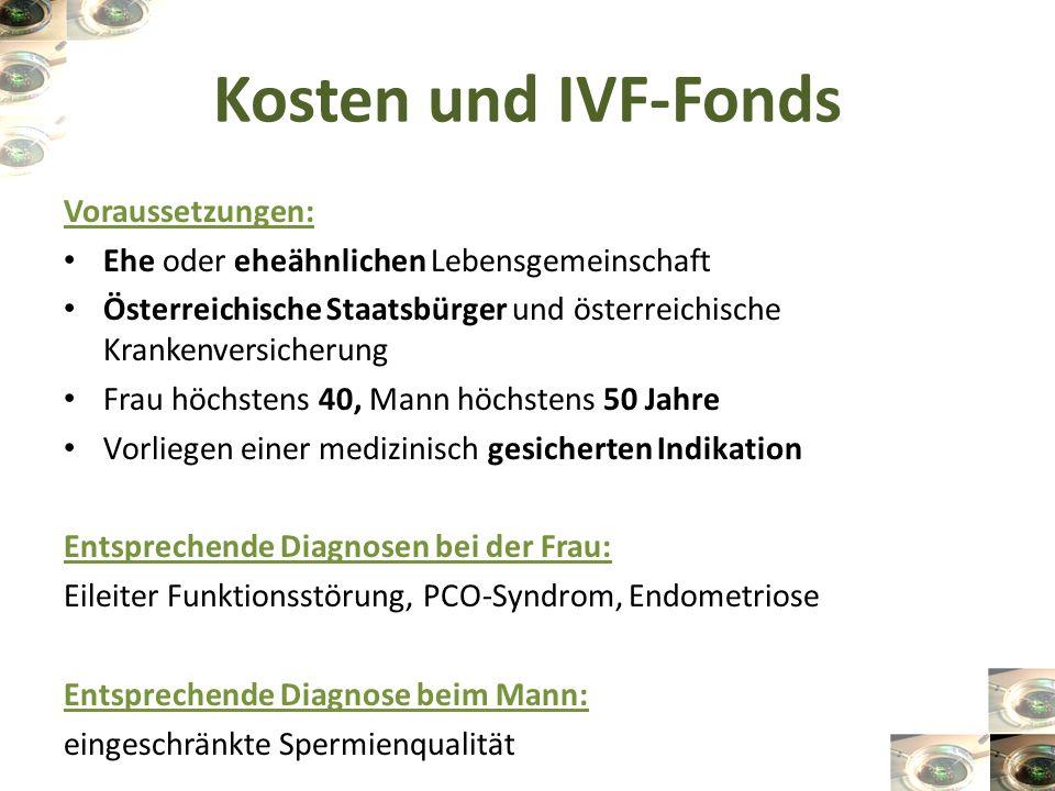 Kosten und IVF-Fonds Voraussetzungen: Ehe oder eheähnlichen Lebensgemeinschaft Österreichische Staatsbürger und österreichische Krankenversicherung Fr