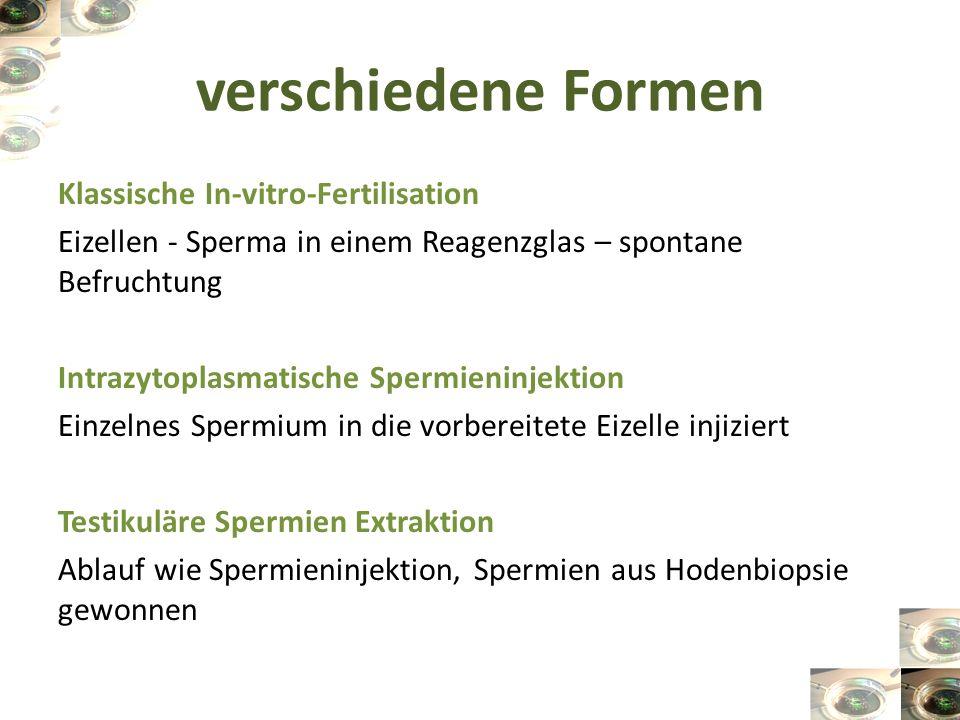verschiedene Formen Klassische In-vitro-Fertilisation Eizellen - Sperma in einem Reagenzglas – spontane Befruchtung Intrazytoplasmatische Spermieninje