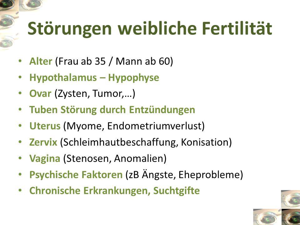 Störungen männliche Fertilität Hypophysen-Vorderlappeninsuffizienz Hodenschädigung (Wärme, Entzündungen,…) Samenwege (Stenose, Retrograde Ejakulation) Immunologische Sterilität (Antigen-Antikörper- Bindung) Psychische Ursachen (fehlende Errektion, verfrühte Ejakulation) Chronische Erkrankungen, Suchtgifte