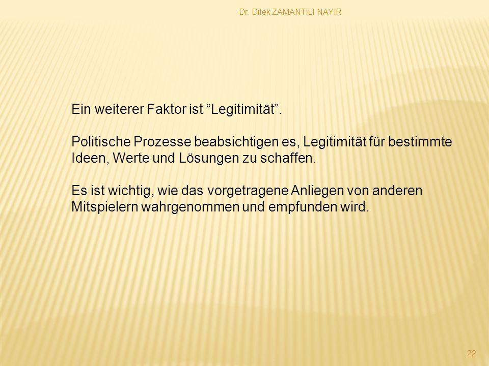 Dr.Dilek ZAMANTILI NAYIR 22 Ein weiterer Faktor ist Legitimität.