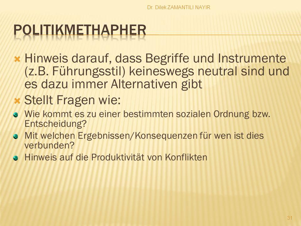 Dr.Dilek ZAMANTILI NAYIR 31 Hinweis darauf, dass Begriffe und Instrumente (z.B.
