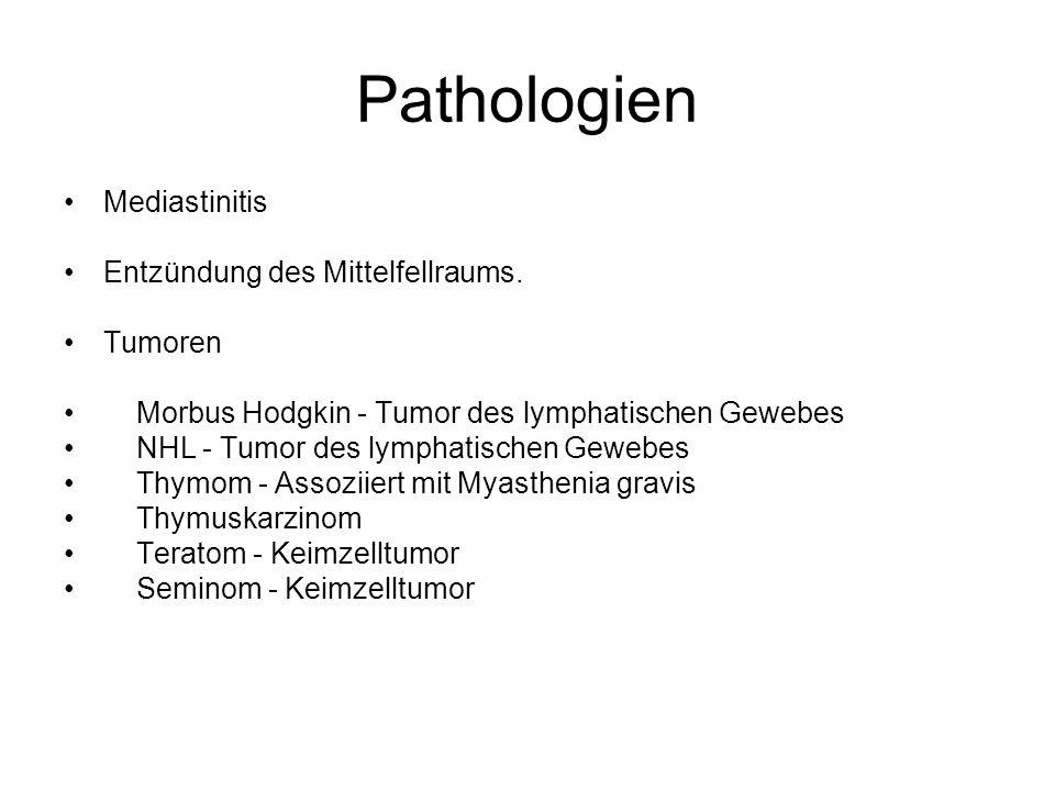 Pathologien Mediastinitis Entzündung des Mittelfellraums. Tumoren Morbus Hodgkin - Tumor des lymphatischen Gewebes NHL - Tumor des lymphatischen Geweb