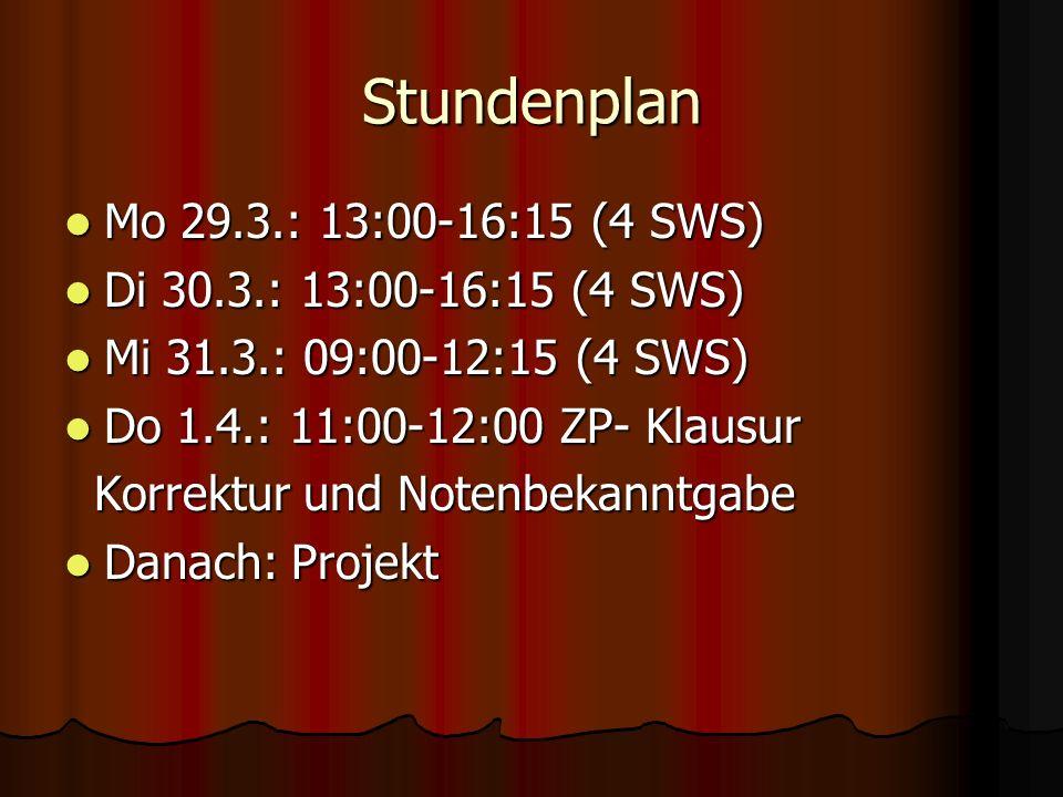 Stundenplan Mo 29.3.: 13:00-16:15 (4 SWS) Mo 29.3.: 13:00-16:15 (4 SWS) Di 30.3.: 13:00-16:15 (4 SWS) Di 30.3.: 13:00-16:15 (4 SWS) Mi 31.3.: 09:00-12:15 (4 SWS) Mi 31.3.: 09:00-12:15 (4 SWS) Do 1.4.: 11:00-12:00 ZP- Klausur Do 1.4.: 11:00-12:00 ZP- Klausur Korrektur und Notenbekanntgabe Korrektur und Notenbekanntgabe Danach: Projekt Danach: Projekt