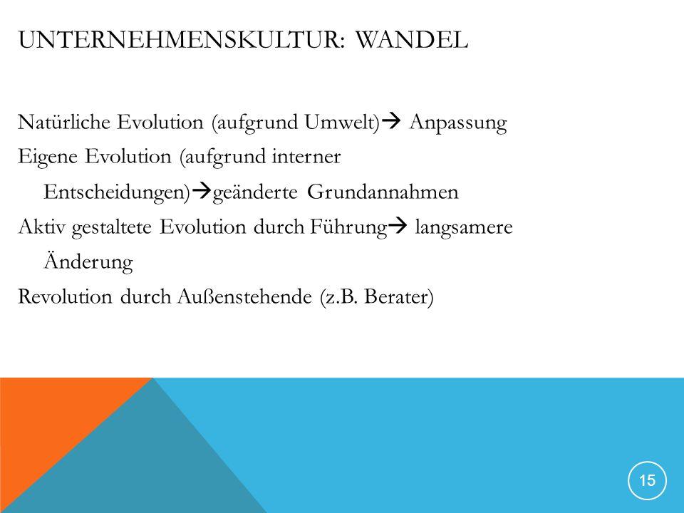 UNTERNEHMENSKULTUR: WANDEL Natürliche Evolution (aufgrund Umwelt) Anpassung Eigene Evolution (aufgrund interner Entscheidungen) geänderte Grundannahmen Aktiv gestaltete Evolution durch Führung langsamere Änderung Revolution durch Außenstehende (z.B.